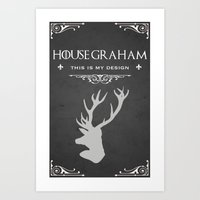 will graham Art Prints featuring House Graham by Pixel Design