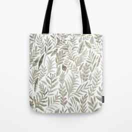 Grey Botanical Tote Bag