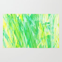 Grassy Abstract in Yellow Green Aqua White by Menega Sabidussi Rug