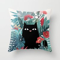 spring Throw Pillows featuring Popoki by littleclyde