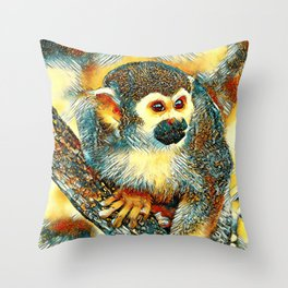 AnimalArt_Monkey_20170602_by_JAMColorsSpecial Throw Pillow