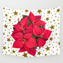 Red Christmas flower and sparkly gold stars Wall Tapestry