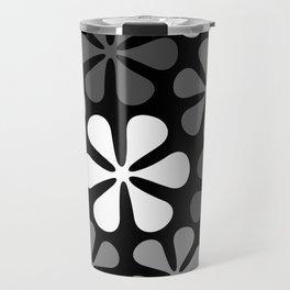 Abstract Flowers Monochrome Travel Mug