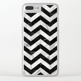 Marble Chevron Pattern 2 - Black and White Clear iPhone Case