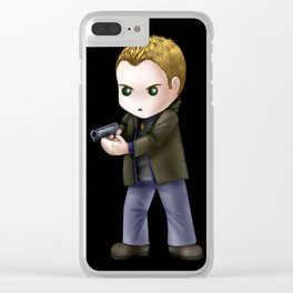 Chibi Dean Winchester (Black BG) Clear iPhone Case