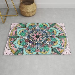 Bohemian Colorful Watercolor Floral Mandala Rug