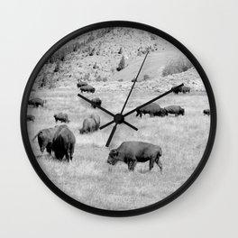 Bison Herd Wall Clock