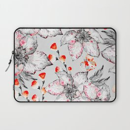 Red And Grey Floral Pattern Laptop Sleeve