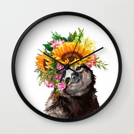 Sloth with Sunflower Crown Wall Clock