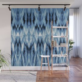 Blue Satin Shibori Argyle Wall Mural