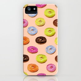 Glazed watercolor donuts on pink iPhone Case