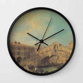 Grand Canal Rialto Bridge - Canaletto (Distressed Plaster Look) Wall Clock