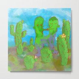 Kissing Cactus Metal Print