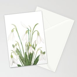 white snowdrop flower watercolor Stationery Cards