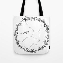 Floral Virgo Constellation Tote Bag