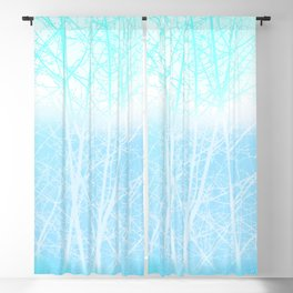 Frosted Winter Branches in Misty Blue Blackout Curtain
