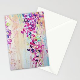 DANCE OF THE SAKURA - Lovely Floral Abstract Japanese Cherry Blossoms Painting, Feminine Peach Blue  Stationery Cards