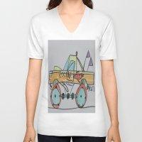 truck V-neck T-shirts featuring Rocket Truck by Ryan van Gogh