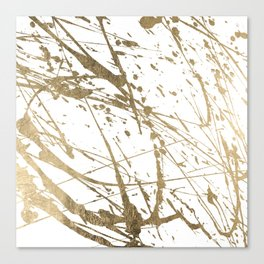 Artistic white abstract faux gold paint splatters Canvas Print