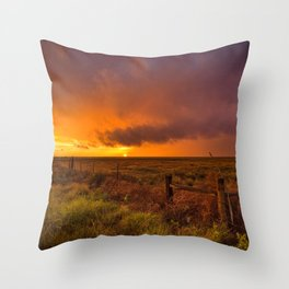 Sunset on the Plains - Sun Illuminates Sky After Stormy Day Throw Pillow