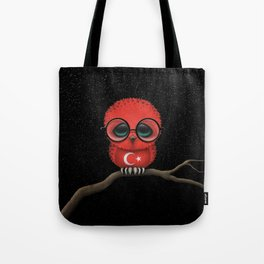 Baby Owl with Glasses and Turkish Flag Tote Bag