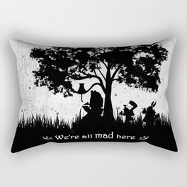 We're All Mad Here Alice In Wonderland Silhouette Art Rectangular Pillow