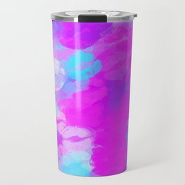 pink and blue kisses lipstick abstract background Travel Mug