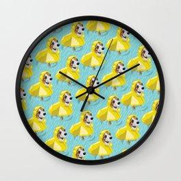 corgi in rain coat Wall Clock