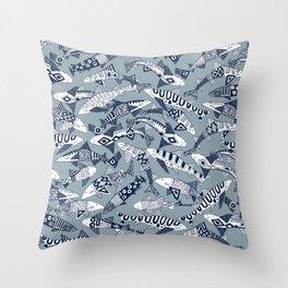 shark party blue Throw Pillow