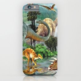 Jurassic dinosaurs drink in the river iPhone Case