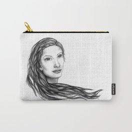 Flow (BW) - Woman Sketch Carry-All Pouch