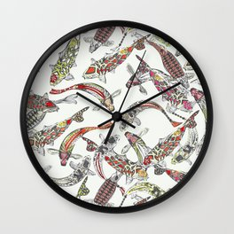 lucky koi off white Wall Clock