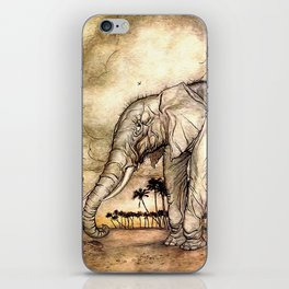 An Elephant and A Lion - Vintage Artwork iPhone Skin