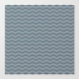 Blue and White Christmas Chevron Stripes Canvas Print