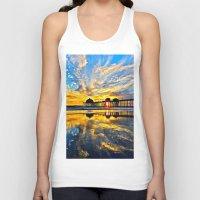 calendars Tank Tops featuring Sunset ~ Huntington Beach Pier CA  11/7/13 by John Minar Fine Art Photography