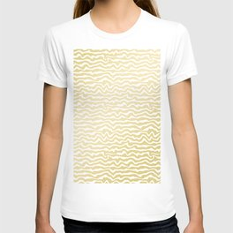 Modern abstract hand painted yellow gold white pattern T-shirt