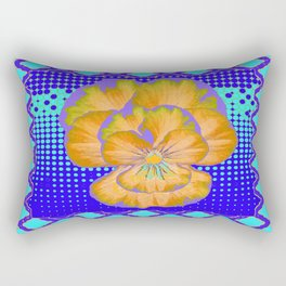 Golden-Lavender Pansy Modern Aqua-Blue Abstract Patterns Rectangular Pillow