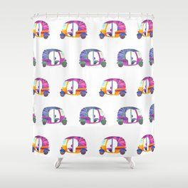 Funky rickshaws pattern Shower Curtain