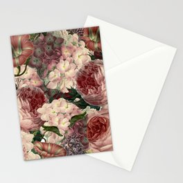 Vintage & Shabby Chic Pink Dark Floral Roses Lilacs Flowers Watercolor Pattern Stationery Cards