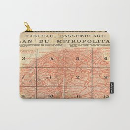 Vintage Paris City Centre Map Carry-All Pouch