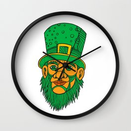 Irish Leprechaun Mono Line Color Wall Clock