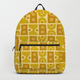 Mid Century Abstract Pattern Yellow Ochre Backpack