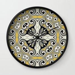 Edwardian Geo Yellow Grey Wall Clock
