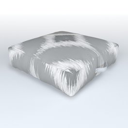 Elegant White Gray Retro Circles Squares Ikat Pattern Outdoor Floor Cushion