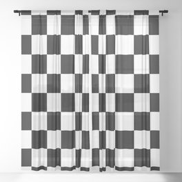 Black & White Checker Checkerboard Checkers Sheer Curtain