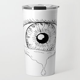 Human Eye Crying Tears Flowing Drawing Travel Mug