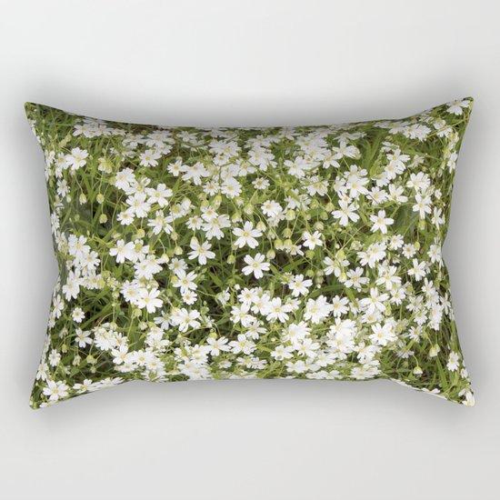 Stitchwort Stellaria Wild Flowers Rectangular Pillow