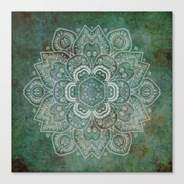 Silver White Floral Mandala on Green Textured Background Canvas Print
