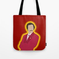 anchorman Tote Bags featuring Ron Burgundy: Anchorman by The Vector Studio