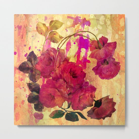 roses on abstract background Metal Print